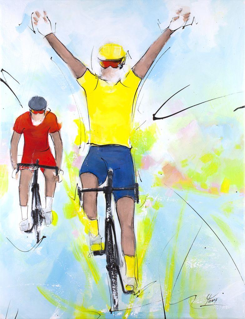 art peinture sport cyclisme tour de france : Victoire d'étape pour le maillot jaune