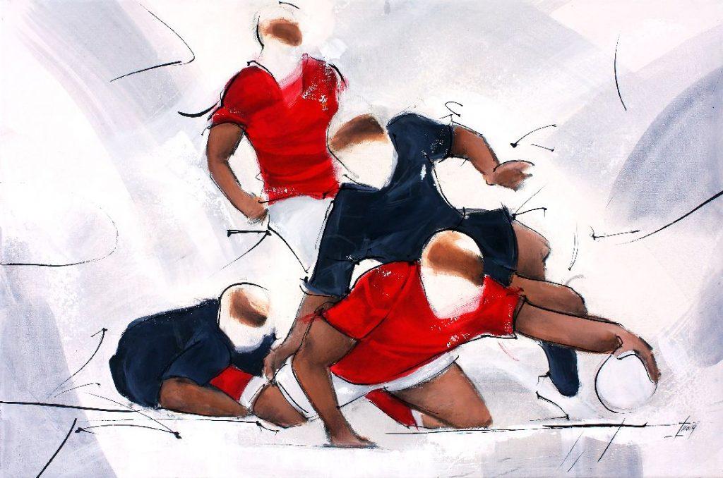 Art Sport Rugby : Peinture d'un match de rugby entre les all blacks de Nouvelle Zélande et le Pays de Galles