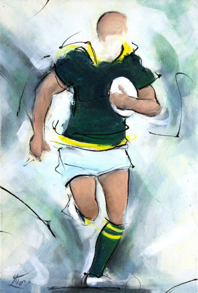 art sport rugby world cup : peinture rugby d'un joueur springboks d'Afrique du sud