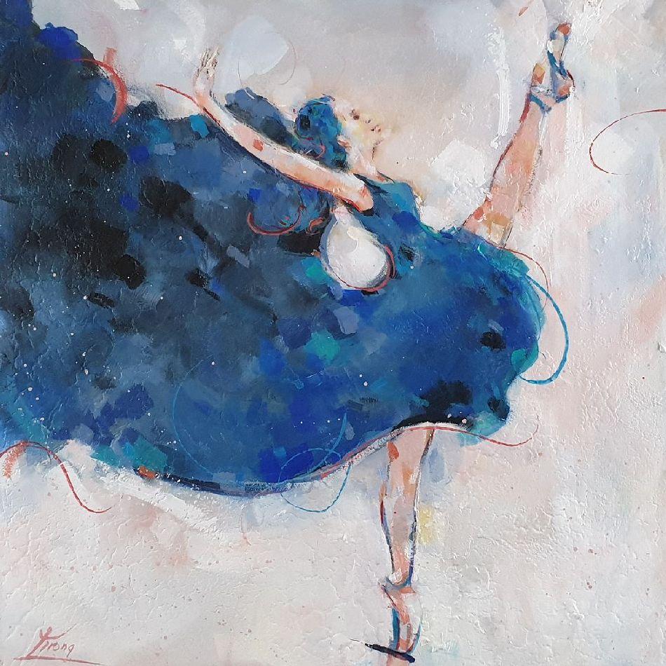 Art peinture d'un danseuse de ballet -peinture sur toile - Lucie Llong, artiste peintre du mouvement