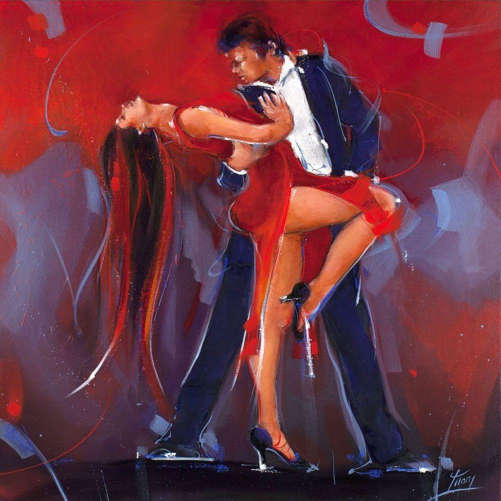 art peinture danse tango - couple de danseurs sur scène