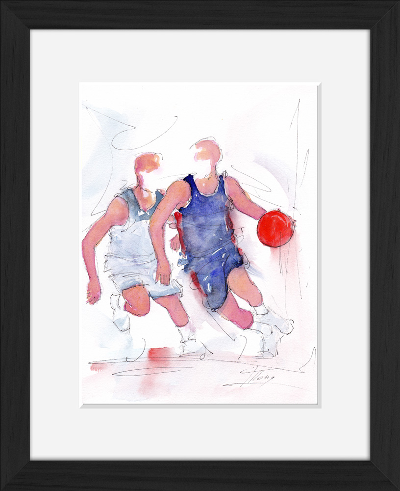 Basketball: framed watercolour painting of France's victory over the USA in 2019