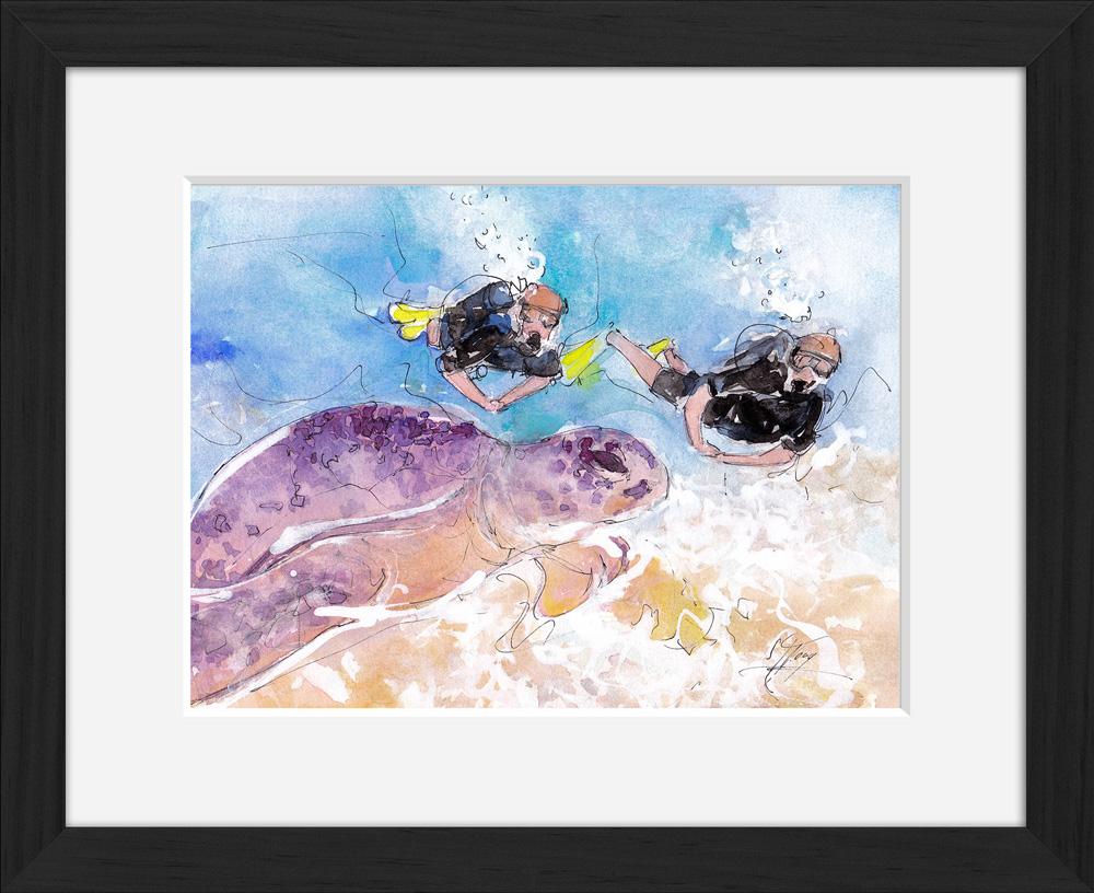 Plongée : peinture à l'aquarelle encadrée d'une plongée sur une récif corallien à la découverte de la flore et de la faune marine