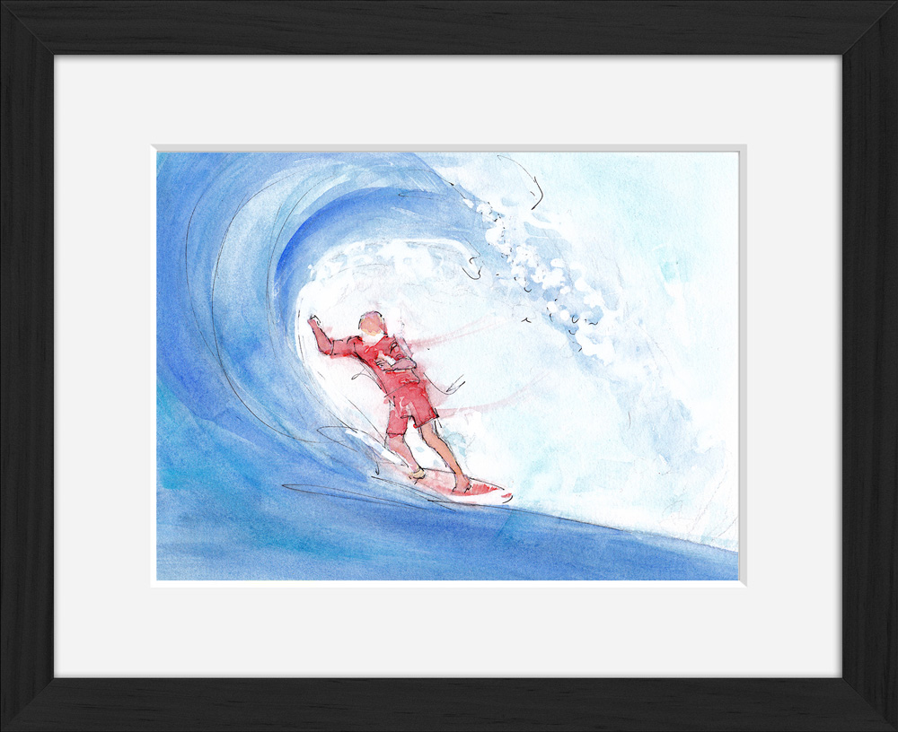 Wave surfing : framed watercolor painting
