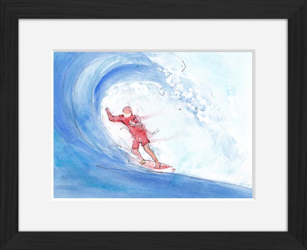 Surf : peinture à l'aquarelle d'un surfeur ridant une vague de l'océan atlantique