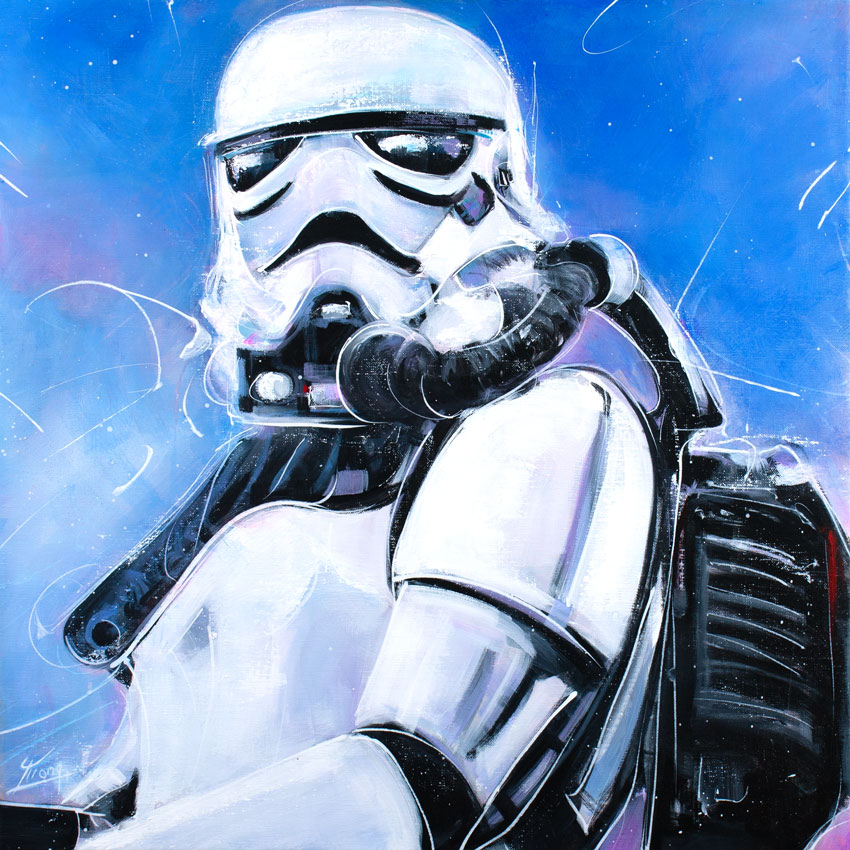 Peinture Starwars : Un Storm trooper en peinture par Lucie LLONG, artiste peintre - Série POP ART