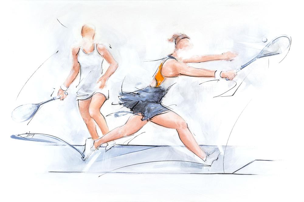 art sport de raquette squash : peinture d'un match de squash par Lucie LLONG, artiste peintre du mouvement