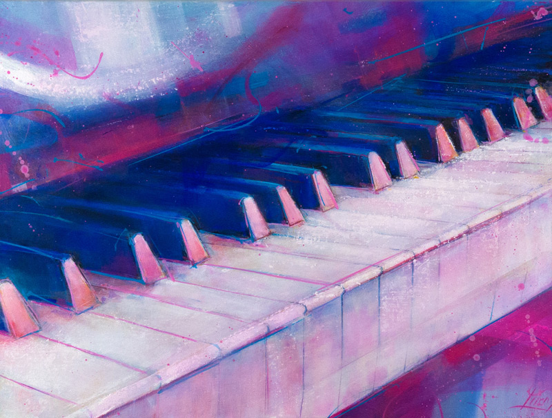 Musical instrument painting | piano on canvas by Lucie LLONG