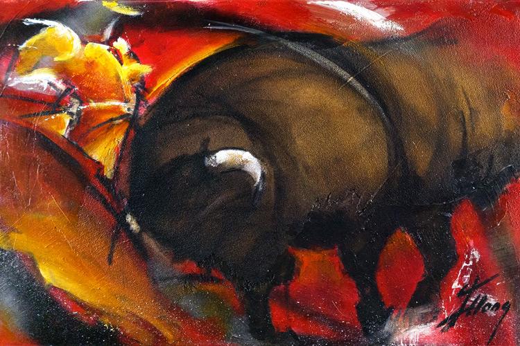 Art : peinture sur toile   tauromachie   Corrida   Torero en habit de lumière face au taureau dans les arènes - Lucie LLONG