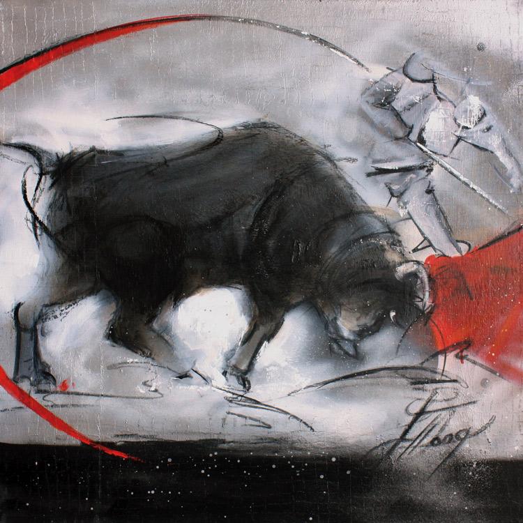 Art : peinture sur toile | tauromachie | Corrida | Torero et taureau dans les arènes - Lucie LLONG