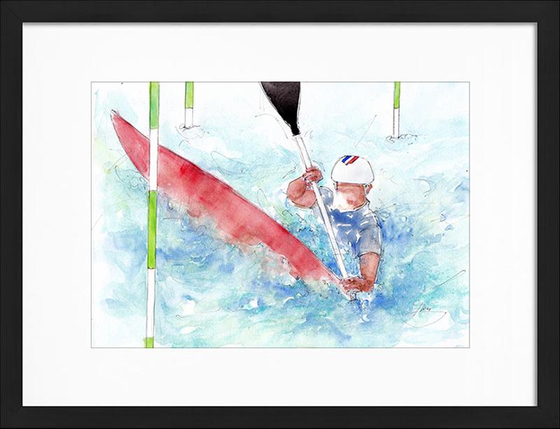 Aquarelle sport | Peinture de sport | Equipe de France de Kayak