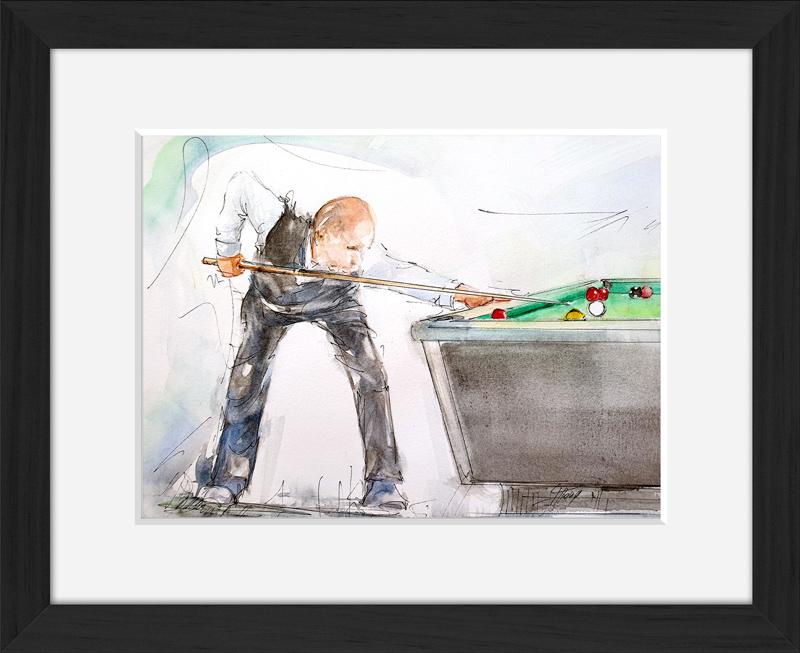 Art | peinture aquarelle | joueur de billard