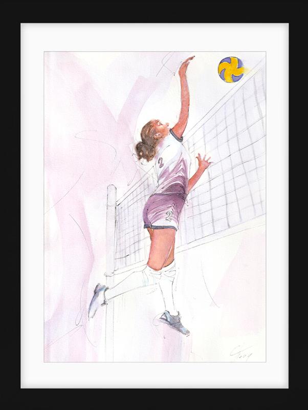 Aquarelle sport   Peinture de sport   Volley-ball féminin
