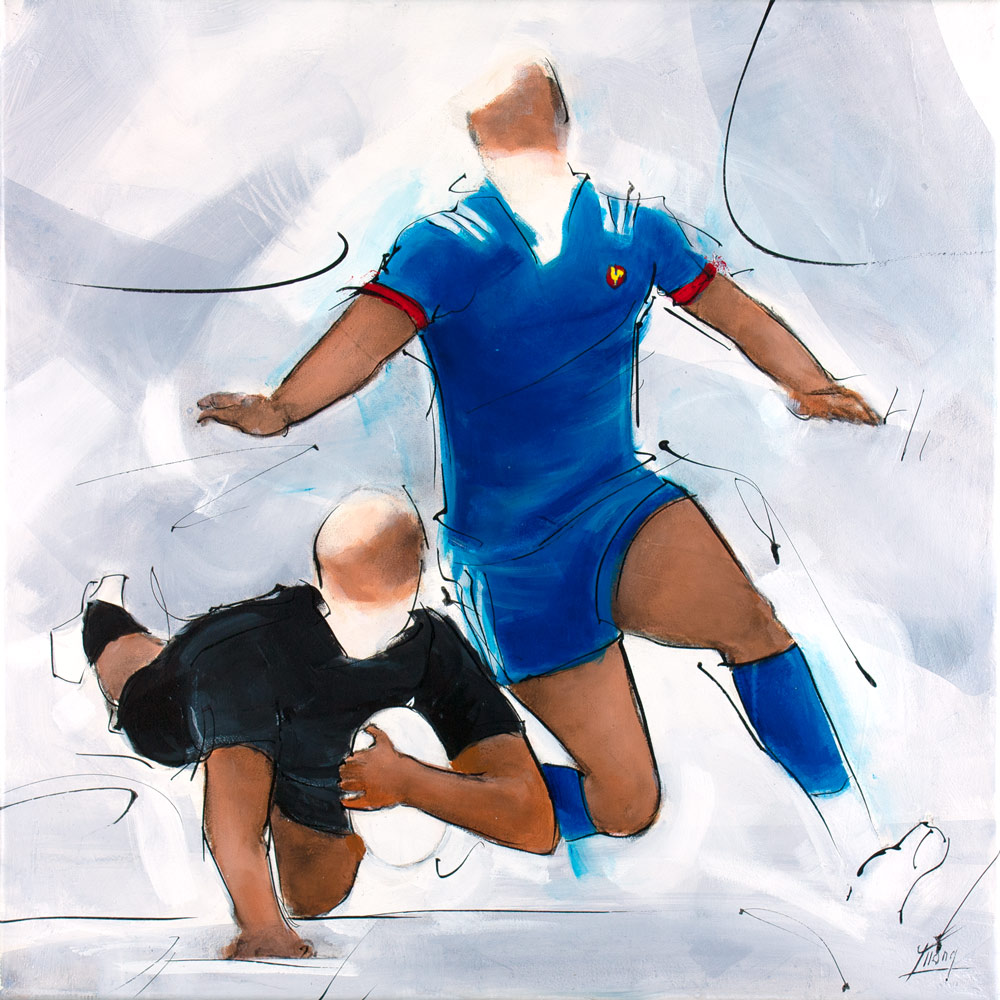 All Blacks rugby painting : All blacks try against France at the Eden Park - Lucie LLONG, artist of movement and sport