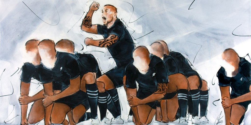 Rugby painting: all black players during the Haka - Kapa O Pango - Lucie LLONG, artist of movement and sport -