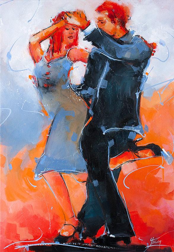 Peinture danse de salon : un couple de danseur de tango - Art - par Lucie LLONG, artiste peintre du mouvement