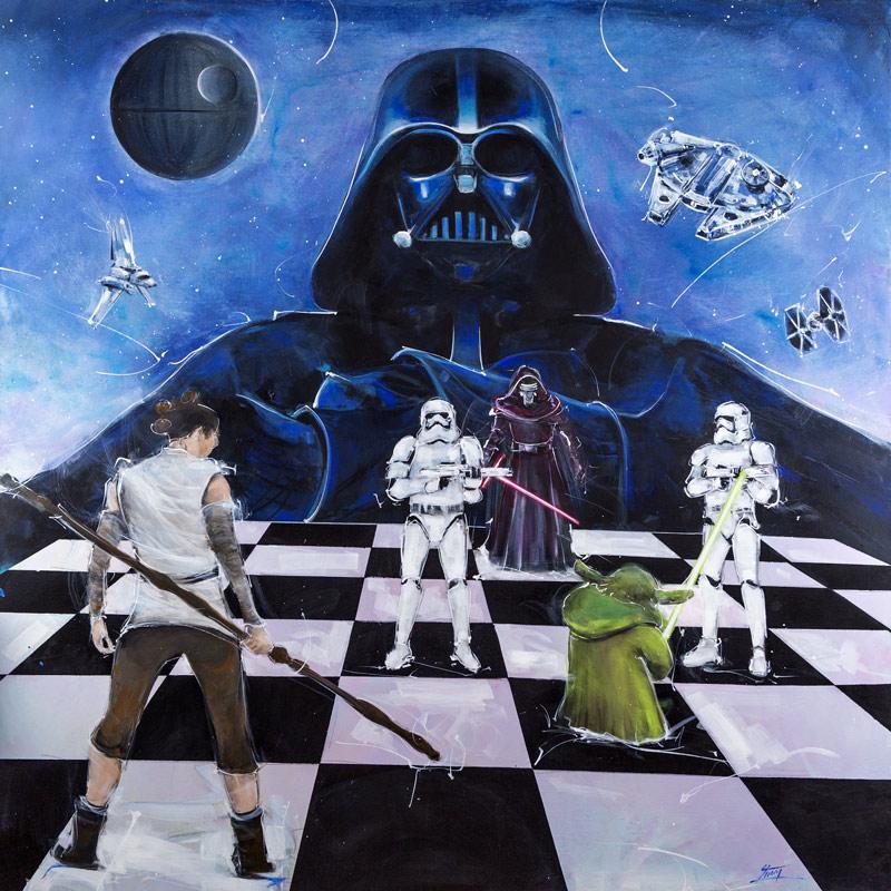 Peinture Starwars : l'histoire de la saga Starwars en peinture - le côté obscur de Dark Vador face au jedi Yoda et Ray - Série POP ART - l'ascension de Skywalker