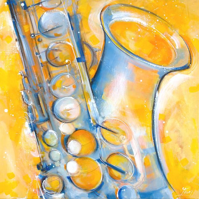 music painting : saxophone vitality - music instrument série - brasswind