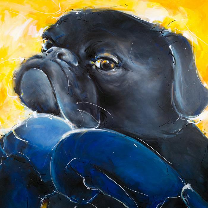art peinture Pop art : tableau animalier d'un chien - boxer - avec des gants de boxe