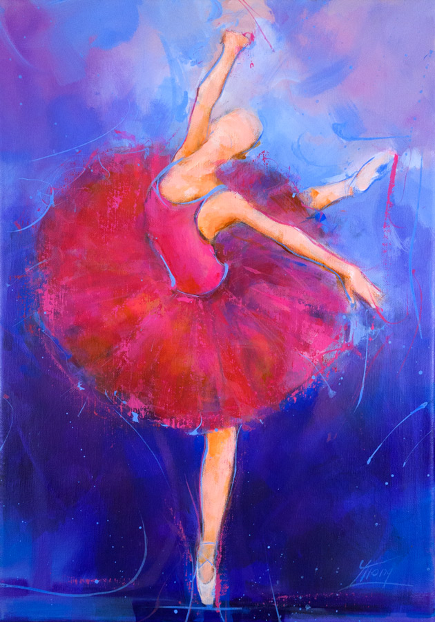 Art | Ballet Painting | Dancer on stage by Lucie LLONG