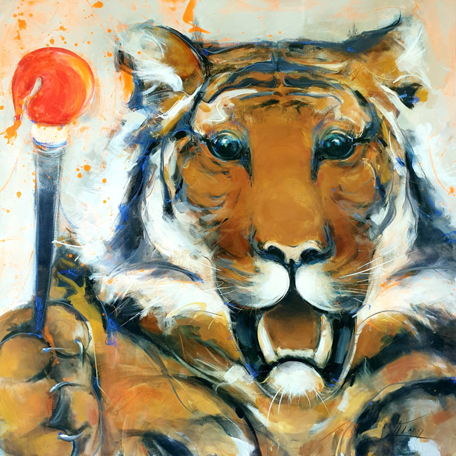 POP ART Painting: Tiger, the artist by Lucie LLONG
