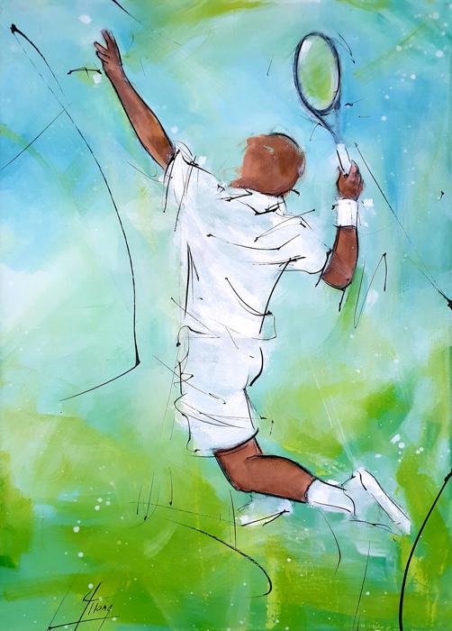 Tennis : peinture de sport - joueur de tennis au service lors du tournoi de Roland Garros