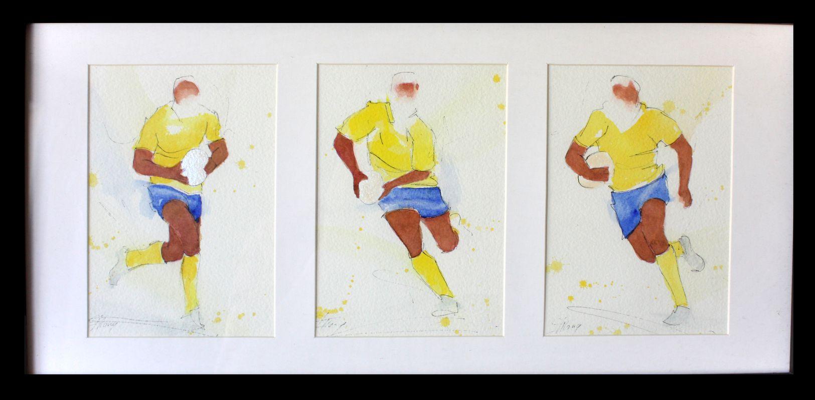 Rugby ; peinture à l'aquarelle encadrée de l'ASM - triptyque - Stade Marcel Michelin -Clermont Ferrand