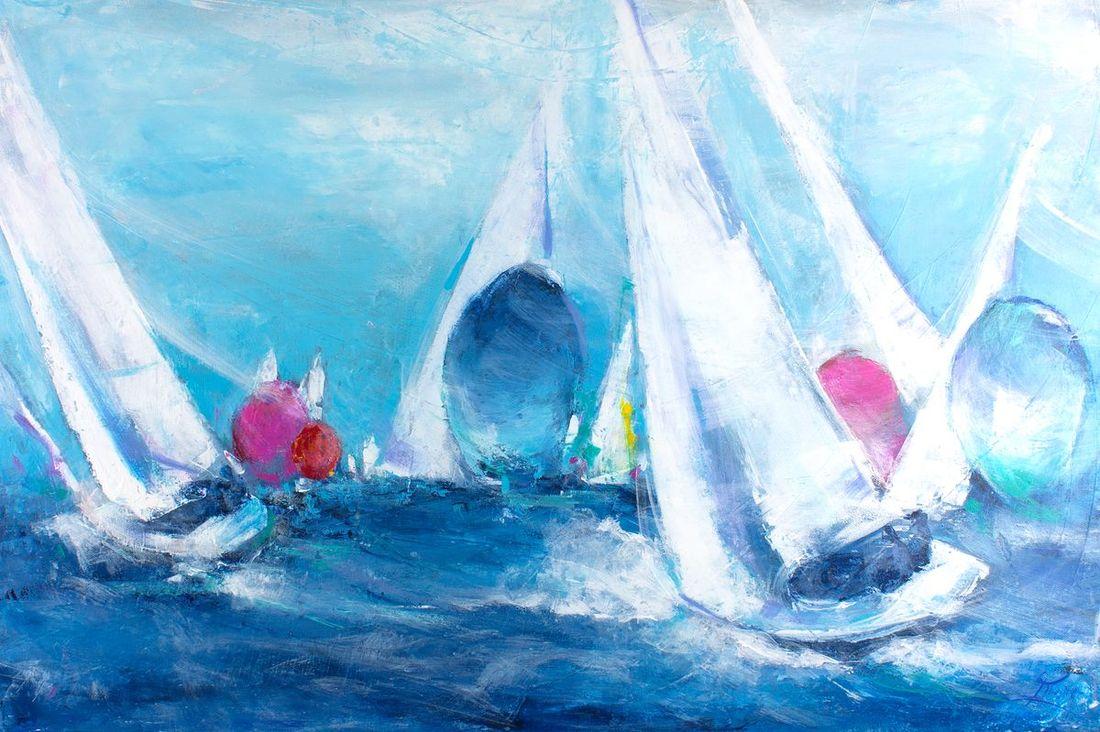 art peinture sport voile: compétition de voiliers de régate