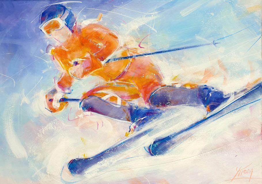 art peinture sport ski : compétition de super G
