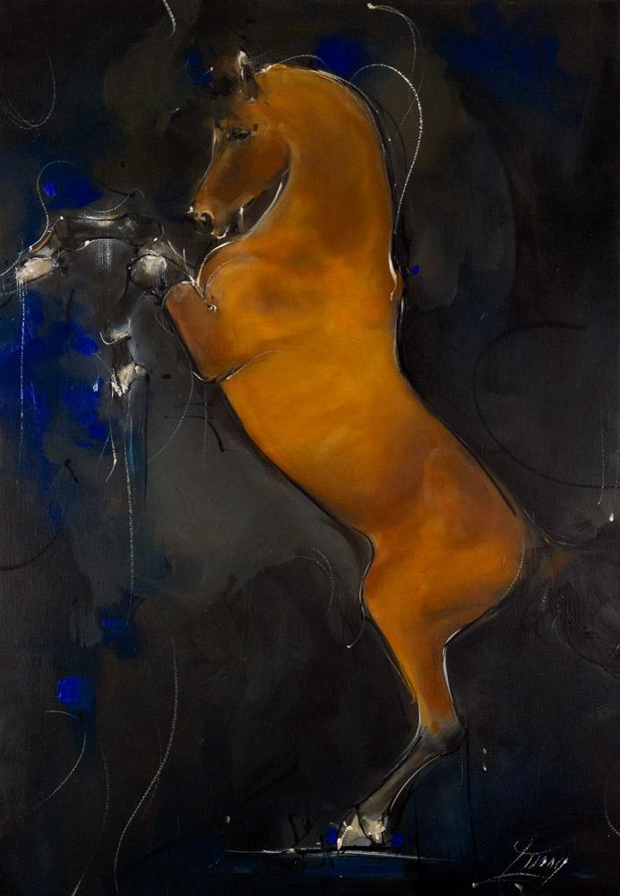 Cheval en peinture - Tableau d'un cheval alezan apr Lucie LLONG