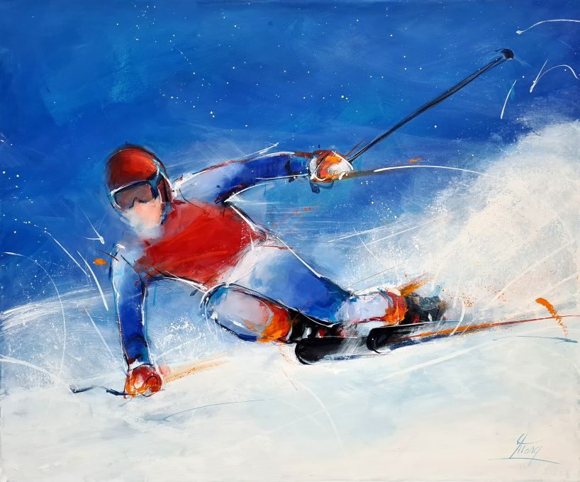 Art: Painting on canvas on competitive skiing