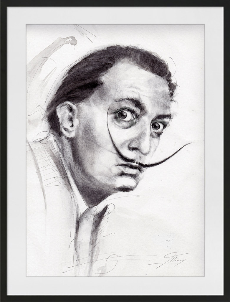 Dali portrait | watercolour painting and ink Lucie LLONG | Artist of movement | portrait series | art personality
