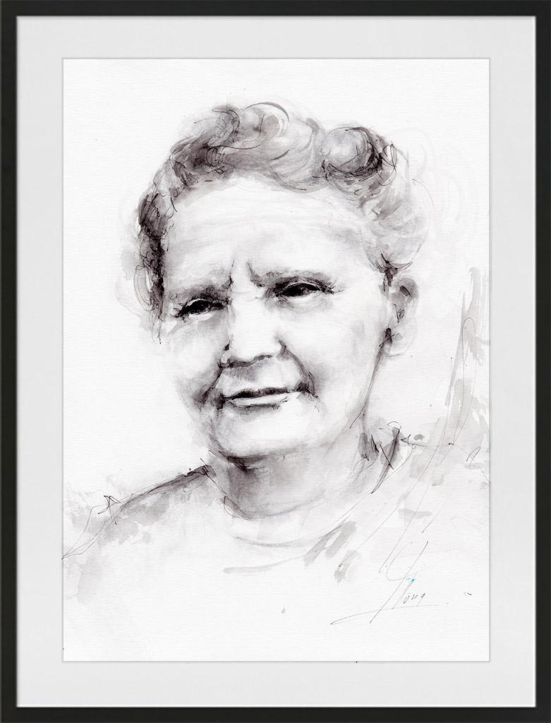 Peinture à l'aquarelle et encre de Marie Curie | Lucie LLONG | artiste peintre du mouvement | série portrait | personnalité en peinture