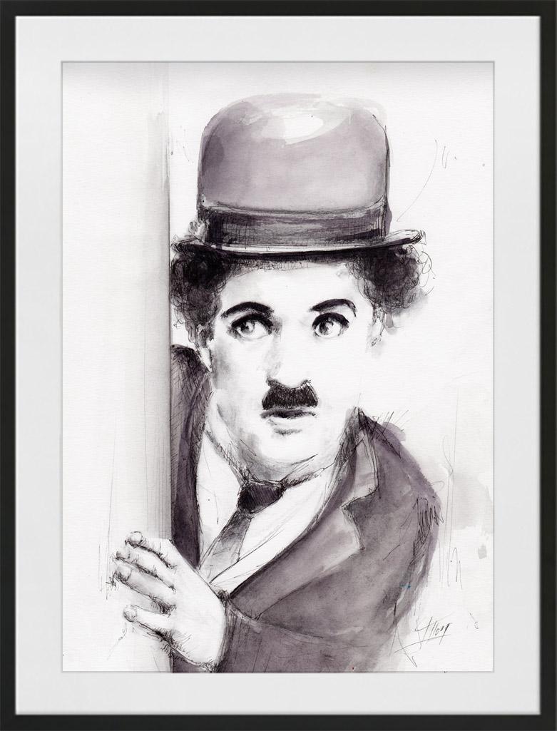 Peinture à l'aquarelle et encre de Charlie Chaplin dit le Charlot | Lucie LLONG | artiste peintre du mouvement | série portrait | personnalité en peinture
