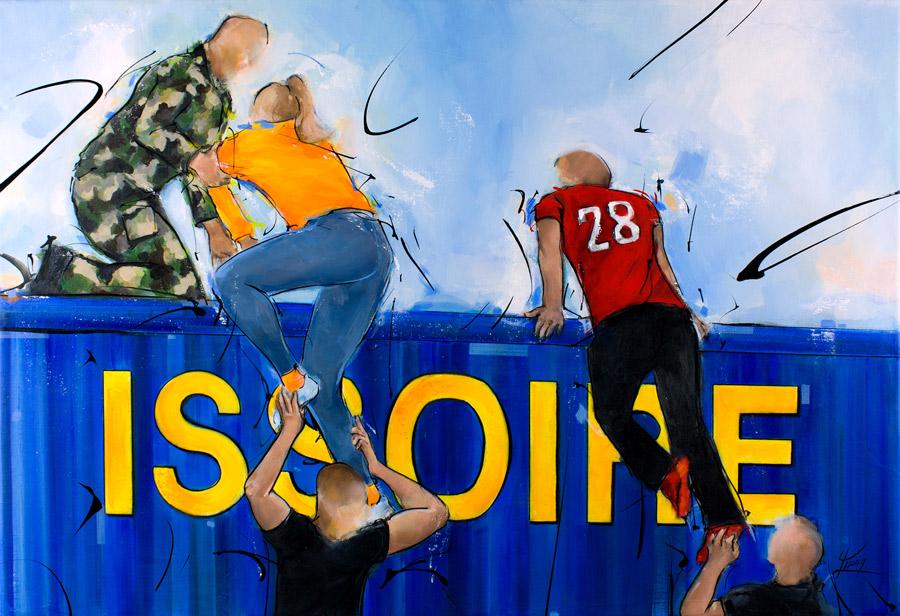 Peinture de la transyssoirienne, la course d'obstacles organisée par le 28ème RT (régiment de transmission) et la ville d'Issoire - Tableau de sport