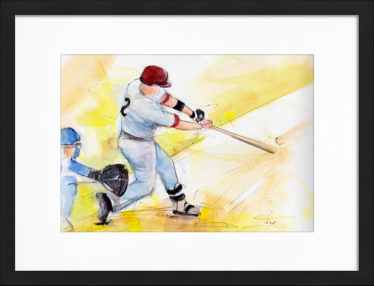 Peinture à l'aquarelle   Série Sport USA - Le baseball   Tableau de sport par Lucie LLONG, artiste peintre du mouvement