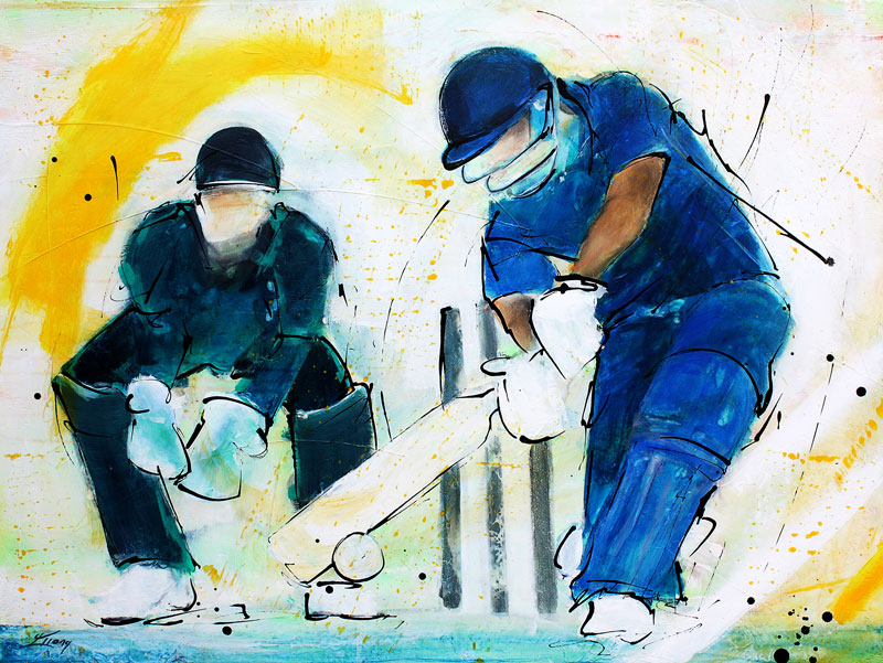 Sports painting - cricket painting - Batsman by Lucie LLONG, artist of movement