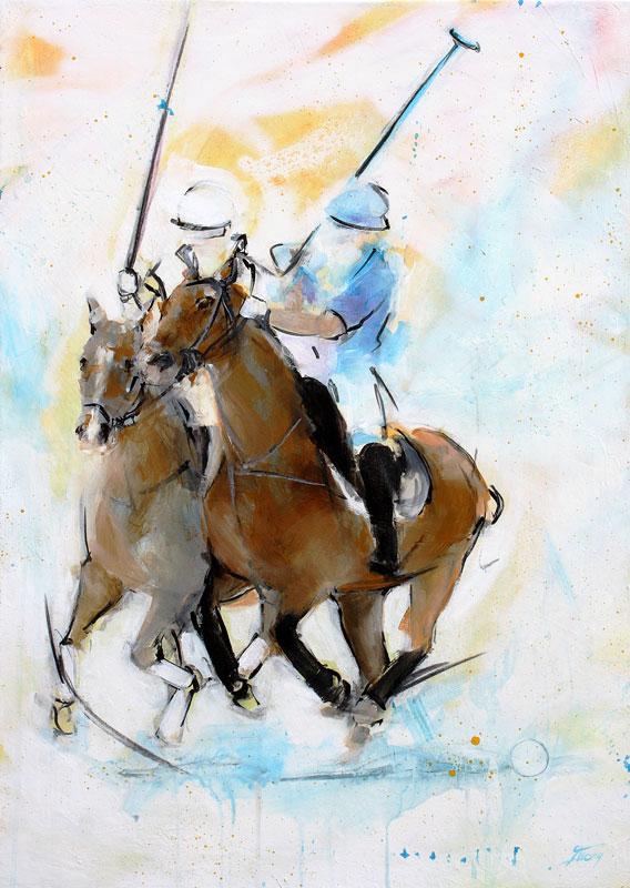 Tableau-peinture-sport-polo-cheval-lucie-llong