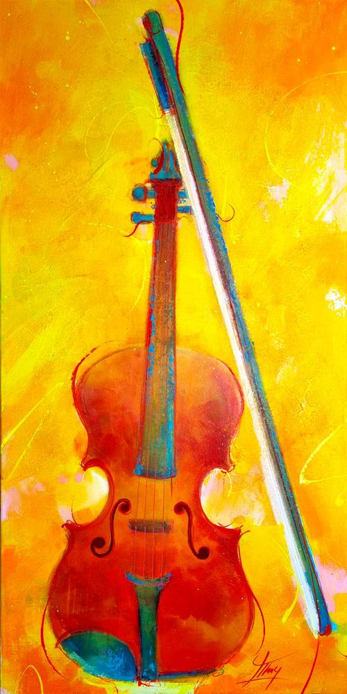 Tableau musique - Insturment de musique - Violon -Peinture par Lucie LLONG, artiste peintre du mouvement