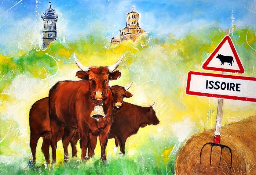 Peinture animalière - La vache salers à Issoire - Peinture par Lucie LLONG, artiste peintre du mouvement et du sport