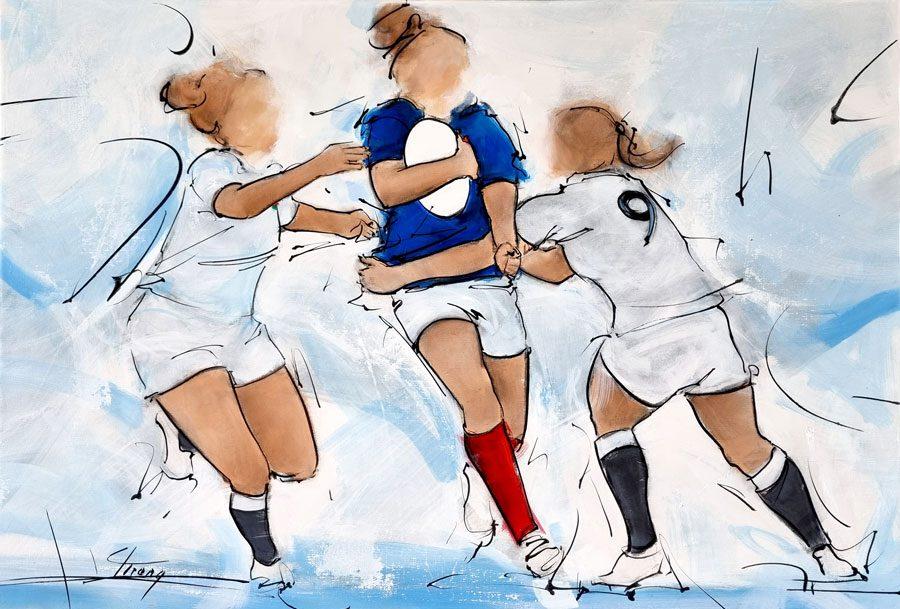 Tableau de sport - Le rugby féminin - Peinture du xv de France face à l'Angleterre lors du tournoi des 6 nations de rugby