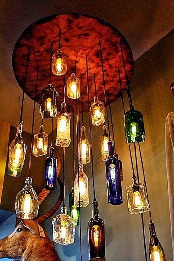 lampara de botellas colgantes