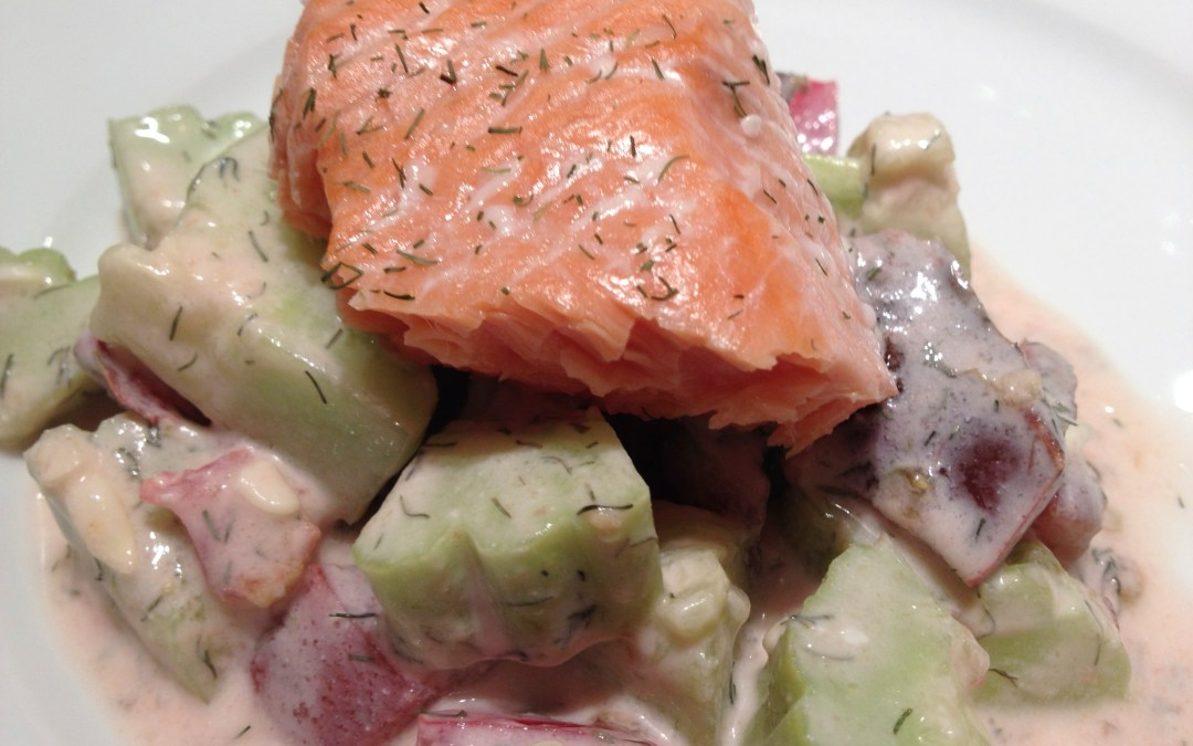 Fage Yogurt, Salmon, Cucumbers, Tomato and Dill