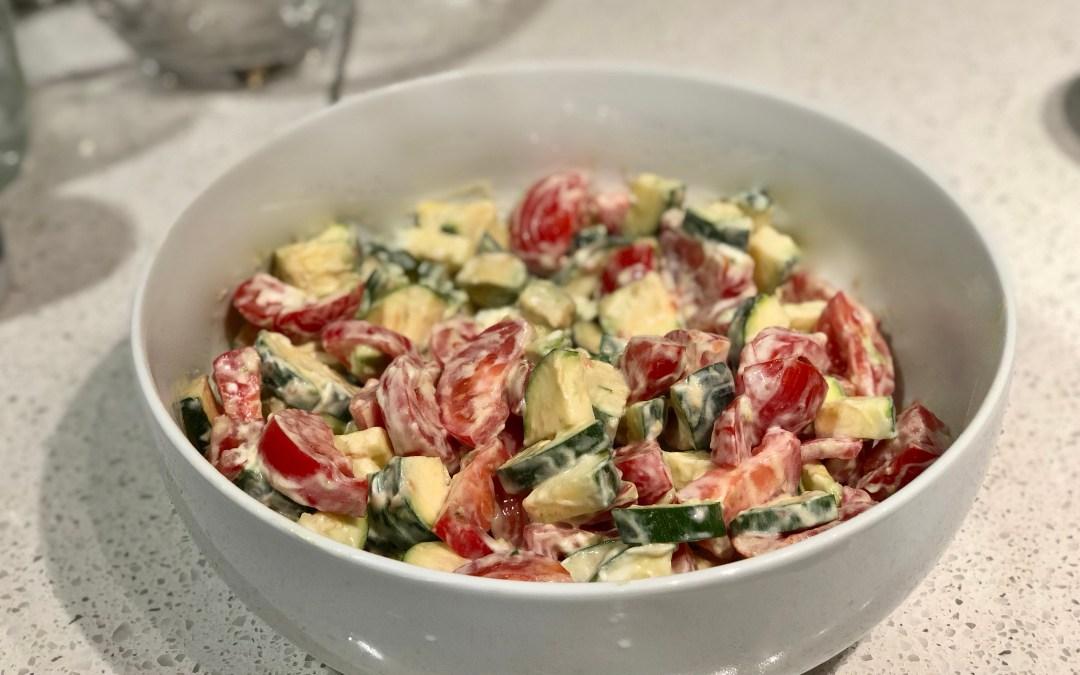 Zucchini, Tomato, Yogurt Salad