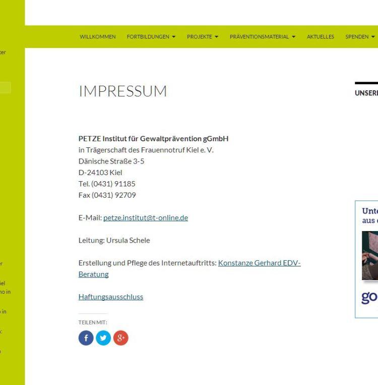 Das Impressum beim Petze-Institut ist aufschlussreich.