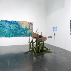 Installation reclaimed Material Artist Lucinda Linderman