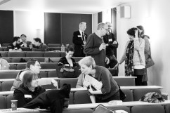 Group conferring on suggestions for workshops
