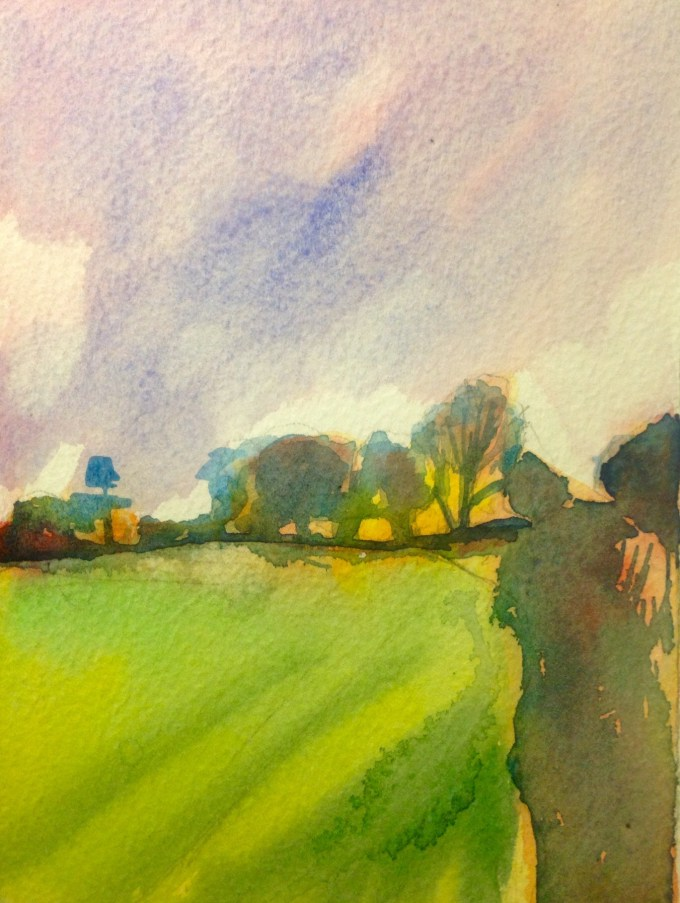 Hedgerow and Sunset, Watercolour, 15 x 11 cm