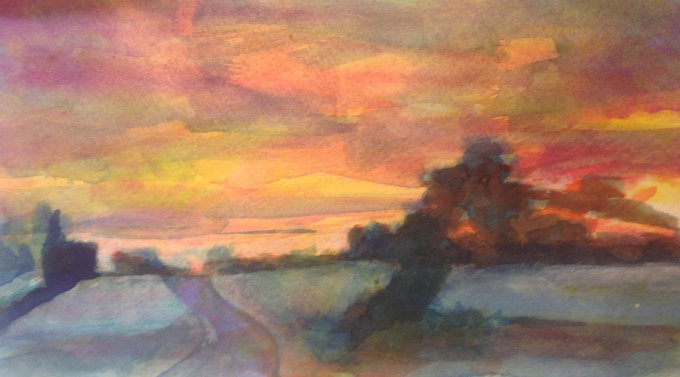 Early Morning, Semley, Watercolour, 15x11cm
