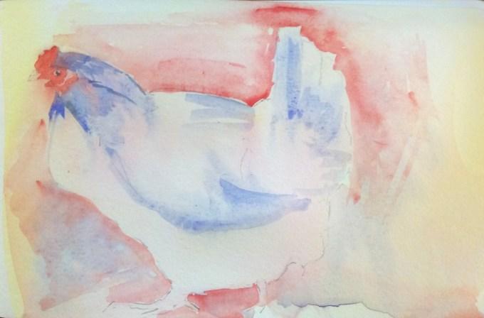 More Hen, watercolour, 15 x 11 cm